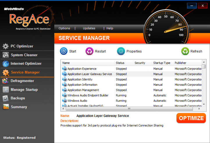 RegAce Service Manager