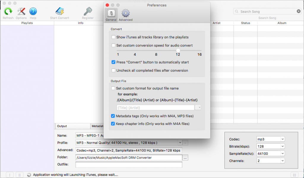 AppleMacSoft DRM Converter settings